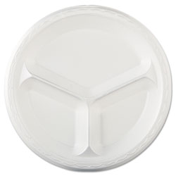 Genpak Elite Laminated Foam Dinnerware, 3-Comp Plate, 10.25 inDia, White, 125/PK, 4 PK/CT