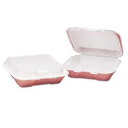 Genpak Snap-It Foam Hinged Container, Small, 1-Comp, White, 8-7/16x7-5/8x2-3/8, 100/Bag
