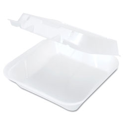 Genpak Snap-It Vented Foam Hinged Container, White, 8-1/4 x 8 x 3, 100/Bag, 2 Bags/CT