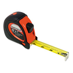 Great Neck Tools Sheffield ExtraMark Tape Measure, Red with Black Rubber Grip, 1 in x 25 ft
