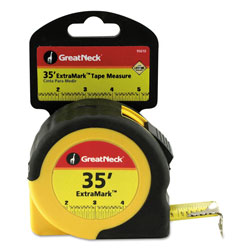 Great Neck Tools ExtraMark Tape Measure, 1 in x 35ft, Steel, Yellow/Black