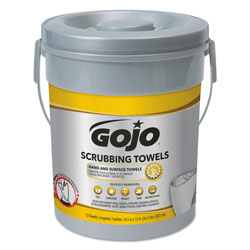 Gojo Scrubbing Towels, Hand Cleaning, Silver/Yellow, 10 1/2 x 12, 72/Bucket, 6/Carton