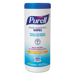 Purell Premoistened Hand Sanitizing Wipes, Cloth, 5 3/4 in x 7 in, 100/Canister