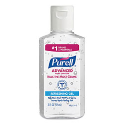 Purell Advanced Hand Sanitizer Gel, 2 oz Flip Cap Bottle, 24/Carton