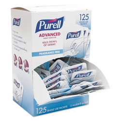 Purell Advanced Hand Sanitizer Single Use, 1.2 mL, Packet, Clear, 125/Box, 12 Box/CT