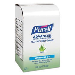 Purell Advanced Hand Sanitizer Soothing Gel Refill, 800 mL, Aloe, 12/Carton