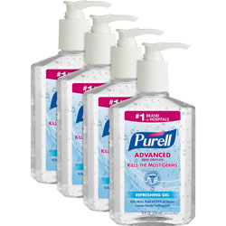 Purell Hand Sanitizer, Pump Bottle, 8 oz., 4/Bundle