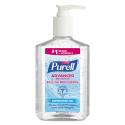 Purell Advanced Hand Sanitizer Refreshing Gel, Clean Scent, 8 oz Pump Bottle, 12/Carton