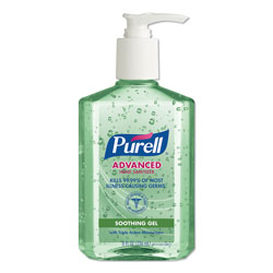 Purell Advanced Hand Sanitizer Soothing Gel, Fresh Scent with Aloe and Vitamin E, 8 oz, 12/Carton