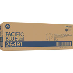 Pacific Blue Ultra 8 in High-Capacity Recycled Paper Towel Roll, White, 26490, 1150 Feet Per Roll, 3 Rolls Per Case