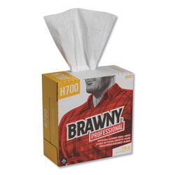 Brawny Professional® Heavyweight HEF Disposable Shop Towels, 9x12.5, White, 176/Box, 10 Box/Crtn
