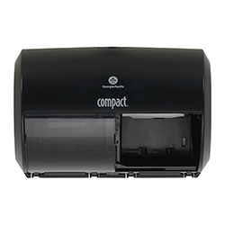 Compact® Coreless Side-by-Side Double Roll Tissue Dispenser, 11.5 in x 8 in, Black