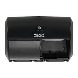 Compact® Coreless Side-by-Side Double Roll Tissue Dispenser, 11.5 in x 8 in, Black