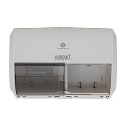 Compact® 2-Roll Side-by-Side Coreless High-Capacity Toilet Paper Dispenser, White, 56797A, 10.12 in W x 6.75 in D x 7.12 in H