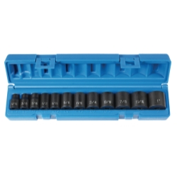 Grey Pneumatic 12 Piece 3/8 in Drive Standard Length Fractional Impact Socket Set