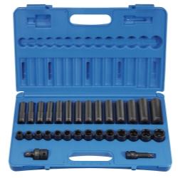 Grey Pneumatic 30 Piece 1/2 in Drive Standard and Deep Length Metric Impact Socket Set