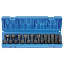 Grey Pneumatic 18 Piece 1/2 in Drive Combo Hex Fractional and Metric Impact Socket Set