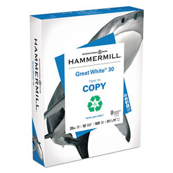 Hammermill Great White 30 Recycled Print Paper, 92 Bright, 20lb, 8.5 x 11, White, 500 Sheets/Ream, 10 Reams/Carton