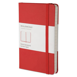 Moleskine Hard Cover Notebook, Narrow Rule, Red Cover, 5.5 x 3.5, 192 Sheets