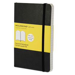 Moleskine Classic Softcover Notebook, 4 sq/in Quadrille Rule, Black Cover, 5.5 x 3.5, 192 Sheets