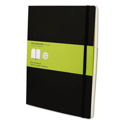Moleskine Classic Softcover Notebook, 1 Subject, Unruled, Black Cover, 10 x 7.5, 192 Sheets