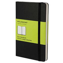 Moleskine Hard Cover Notebook, Plain, 5 1/2 x 3 1/2, Black Cover, 192 Sheets