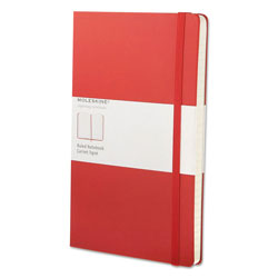 Moleskine Classic Colored Hardcover Notebook, Narrow Rule, Red Cover, 8.25 x 5, 240 Sheets