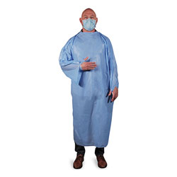 Heritage Bag T-Style Isolation Gown, LLDPE, Large, Light Blue, 50/Carton