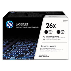HP 26X, (CF226X-D) 2-pack High Yield Black Original LaserJet Toner Cartridges