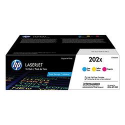 HP 202X, (CF500XM) 3-Pack High Yield Cyan/Magenta/Yellow Original LaserJet Toner Cartridges