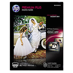 HP Premium Plus Photo Paper, 80 lbs., Soft-Gloss, 8-1/2 x 11, 50 Sheets/Pack