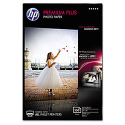 HP Premium Plus Photo Paper, 80 lbs., Glossy, 4 x 6, 100 Sheets/Pack