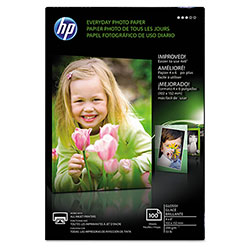 HP Everyday Glossy Photo Paper, 53 lbs., 4 x 6, 100 Sheets/Pack