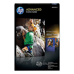HP Advanced Photo Paper, 56 lbs., Glossy, 4 x 6, 100 Sheets/Pack