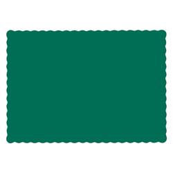 Hoffmaster Solid Color Scalloped Edge Placemats, 9.5 x 13.5, Hunter Green, 1,000/Carton