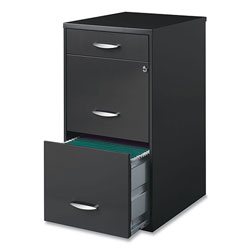 Office Designs Three-Drawer Utility File Cabinet, 14.5w x 18d x 27.13h, Charcoal