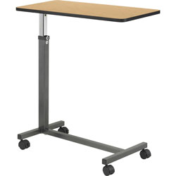 """Hausman Overbed Table, Four 1-1/2"""" Casters, 30"""" x 15"""" x 28""""-45"""", Walnut"""