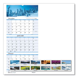 House Of Doolittle Recycled Scenic Compact Three-Month Wall Calendar, 8 x 17, 2020-2022