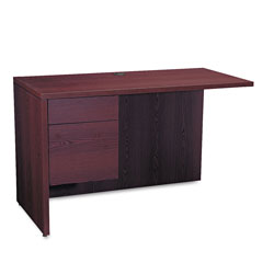Hon 10500 Series L Workstation Return, 3/4 Height Left Ped, 48w x 24d, Mahogany