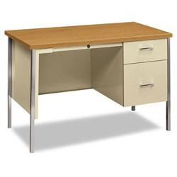 Hon 34000 Series Right Pedestal Desk, 45.25w x 24d x 29.5h, Harvest/Putty