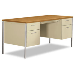 Hon 34000 Series Double Pedestal Desk, 60w x 30d x 29.5h, Harvest/Putty