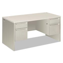 Hon 38000 Series Double Pedestal Desk, 60w x 30d x 30h, Silver Mesh/Light Gray