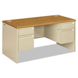 Hon 38000 Series Double Pedestal Desk, 60w x 30d x 29.5h, Harvest/Putty