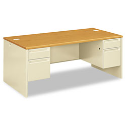 Hon 38000 Series Double Pedestal Desk, 72w x 36d x 29.5h, Harvest/Putty