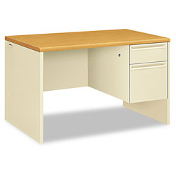 Hon 38000 Series Right Pedestal Desk, 48w x 30d x 29.5h, Harvest/Putty