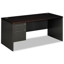 Hon 38000 Series Left Pedestal Desk, 66w x 30d x 29.5h, Mahogany/Charcoal