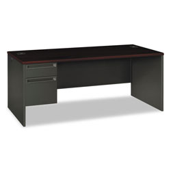 Hon 38000 Series Left Pedestal Desk, 72w x 36d x 29.5h, Mahogany/Charcoal