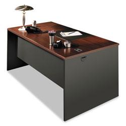 Hon 38000 Series Desk Shell, 60w x 30d x 29.5h, Mahogany/Charcoal