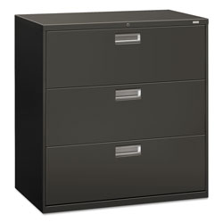 Hon 600 Series Three-Drawer Lateral File, 42w x 18d x 39.13h, Charcoal