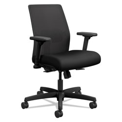 Hon Ignition 2.0 4-Way Stretch Low-Back Mesh Task Chair, Supports up to 300 lbs., Black Seat/Back, Black Base